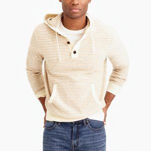 J Crew Medium Harbor Cotton Striped Hooded Sweater
